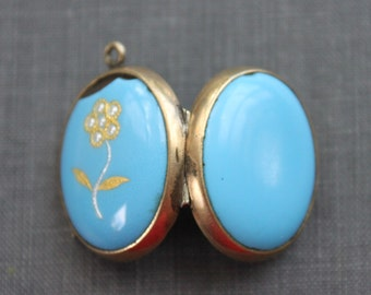 Large Victorian Turquoise Enamel Locket with Pearl Flower