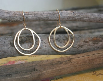 Black Friday Sale: Gold Hoop Earrings - Double Hoop Earrings - 18k Gold Earrings | Handcrafted Jewelry