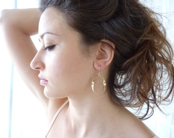 Large Hoop Earrings - Designer Jewelry - Hoop Earrings in 18K Gold Plate - Wave Earrings