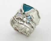 Wide Silk Ring with Chrysocolla, Opal, and Blue in sterling