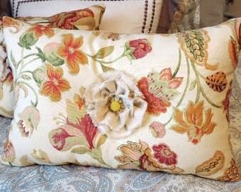 Pillows,  Linen Rosettes,  Set of Pillows, Over Sized Lumbar, Home Decor