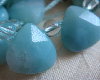 19. Amazonite 11x11mm Faceted Briolette Shape 8 Inches Strand 18pcs Stone Bead