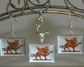 SALE 20% OFF - Griffon Intaglio Earrings and Necklace