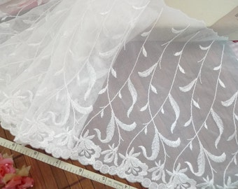 Ivory lace, Embroidered lace, Embroidered tulle fabric, Embroidered net lace, Bridal lace, 3 yards WT230