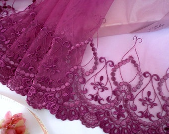 Lace trim, Violet lace, Embroidered trim, antique design lace, Victorian costume lace, Tulle trim, 15 yards VT039