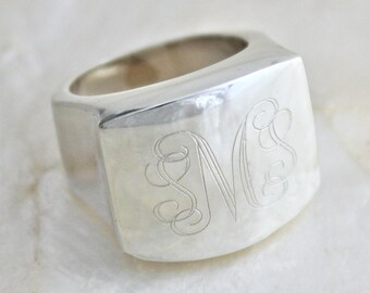 Sterling Silver Monogrammed Signet Ring - Eco Friendly Recycled Silver