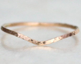 Curved Hammer Faceted Band Sterling Silver 14kt Yellow or Rose Gold Fill Stacking Wedding Promise Midi Fitted Toe Ring Eco Friendly Recycled