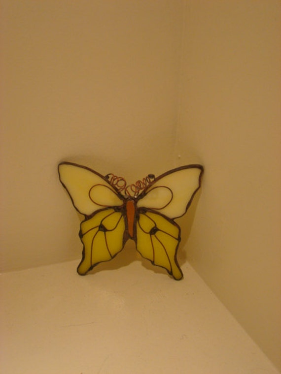 Yellow Stained Glass Butterfly