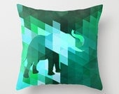 Emerald Elephant throw pillow cover and pillow insert