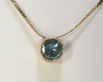 Blue Green Diamond Pendant - 0.40 Carat Color Treated/Enhanced Diamond