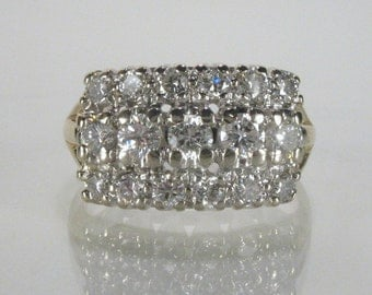 Vintage Diamond Encrusted Wedding Ring - 0.95 Carats Diamond Total Weight - Appraisal Included