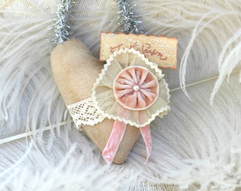 Shabby Chic Christmas Heart Ornament