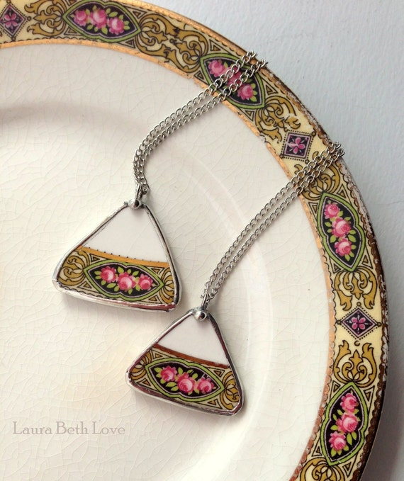 Two matching vintage rose china broken china jewelry shard pendants recycled plate