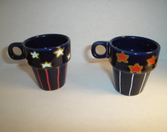 Ceramic Mini Cups with Handle/Set of 2/Hand Painted*