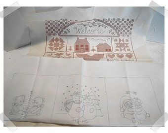 Muslin Fabric Embroidered Craft Pieces/ Unfinished/Craft Supplies*