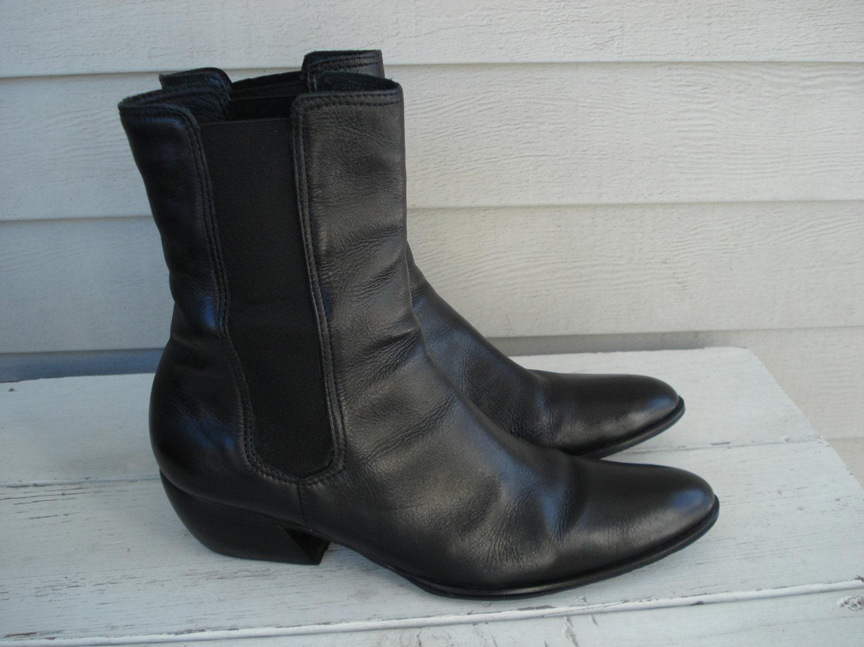 vintage black leather ankle beatle boots western 11
