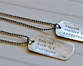 Dog Tags Sterling Silver TWO in this listing Mens Boys Necklace Jewelry