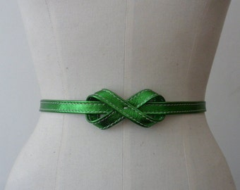 Metallic green leather skinny knot belt