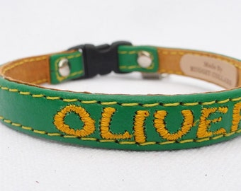 Personalized leather cat collar with breakaway buckle by Ruggit Collars