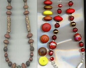 Venetian Murano Art Glass Beads, 3 Styles, Vintage B1604.B1619.B5011 *