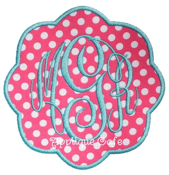 Petal patch machine embroidery applique design