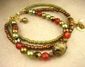 Triple Strand Pearl, Agate, Czech Glass, Seed Bead, Carnelian, Gold Bronze Multi Strand Bracelet
