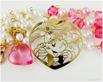 Chibiusa Necklace, Beaded Pearl Chain, Gold Plated - Anime, Sailor Moon
