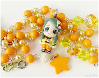 Rozen Maiden Kanaria Rosary Necklace and Phone Strap Set, Orange and Yellow - Sweet Lolita, Anime Jewelry