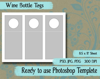 """Scrapbook Digital Collage Photoshop Template, 3"""" x 7 1/2""""  Wine Bottle Hang Tag"""