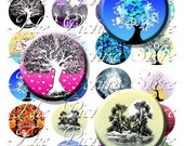Deciduous Trees 1.5 Inch and 1 inch Circles Digital Collage Sheet  Instant Download