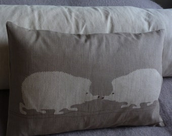Handprinted   hedgehog pair cushion cover