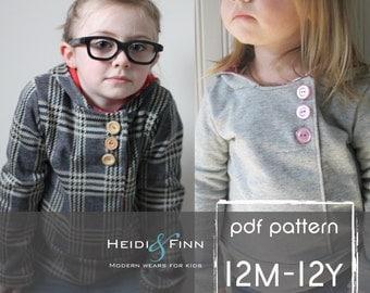 Urban Unisex Hoodie pattern and tutorial 6M - 12y PDF pattern boy girl