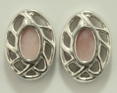 Givenchy Silvertone Ovals w Pink Center Clip Back 80s Earrings Vtg Jewelry