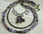 I Heart Purple, Multi strand necklace in shades of Purple, Artisan Pendant