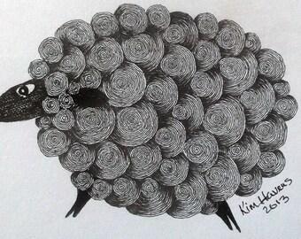 Black Sheep Ink Drawing