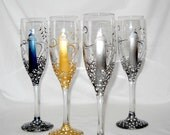Lighthouse Flute Glasses Hand Painted Glassware Nautical Champagne Toasting Flutes ~ Pair