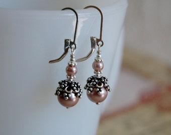 Dusty Rose Ear Dangles - Swarovski pearls, sterling silver, vintage earrings
