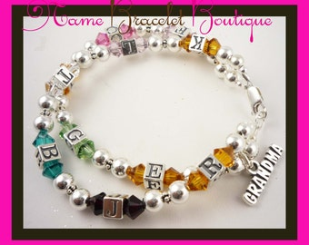 Bracelet for ladies in all sizes and crystal birthstones/sterling silver- initials/ or names, any personalization, charm for Mother, Grandma