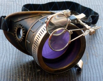 Steampunk goggles monocle eyepatch costume biker glasses lila lens cyber gothic