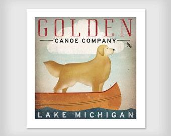 Golden Dog Canoe Company Golden Retriever Canoe Ride Graphic Art Giclee Print 12x12 Signed