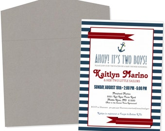 Nautical Ahoy Stripped Baby Shower Invitations - Design Only