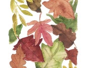 Indian Summer  art print of  Watercolor Painting of Autumn Leaves painted in warm shades of brown rust green and lime, A3 size