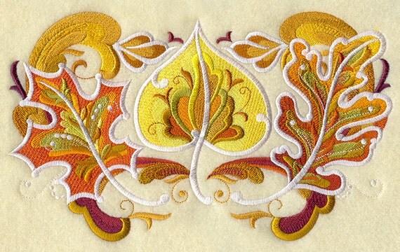 Rosemaling autumn leaf trio machine embroidery quilt blocks