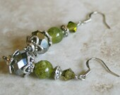 Jade earrings, crystal beads, silver metal, green jewelry