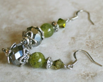 Jade earrings, crystal beads, silver metal, green jewelry