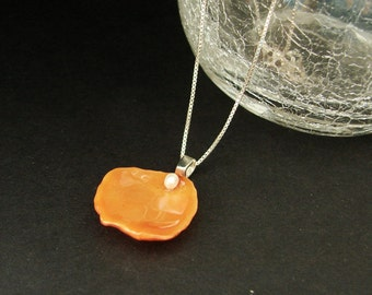 REAL Rose Flower Petal Pendant - Orange Rose Petal Necklace With A Tiny Seed Pearl - Choose Sterling Silver Chain Length