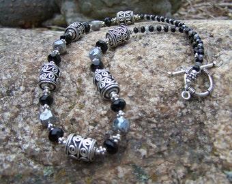 Labradorite, Onyx & Sterling Necklace