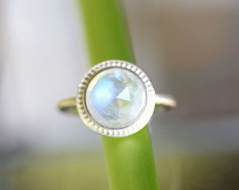 Rose Cut Rainbow Moonstone Sterling Silver Ring, Gemstone Ring, No Nickel / Nickel Free, Granulated Ring - Made To Order