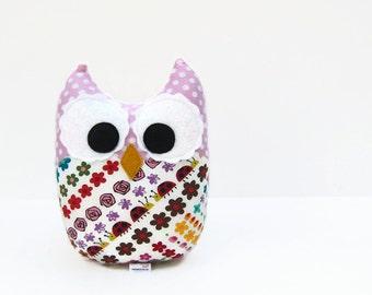 Owl Plush Toy Mini Pillow Minky Pink Red Teal Nursery Decor