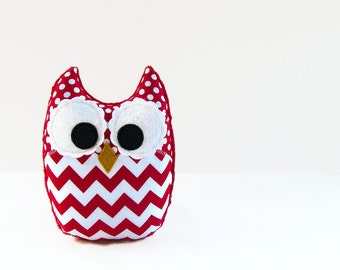 Red Chevron Plush Owl Baby Toy Minky Softie Mini Pillow